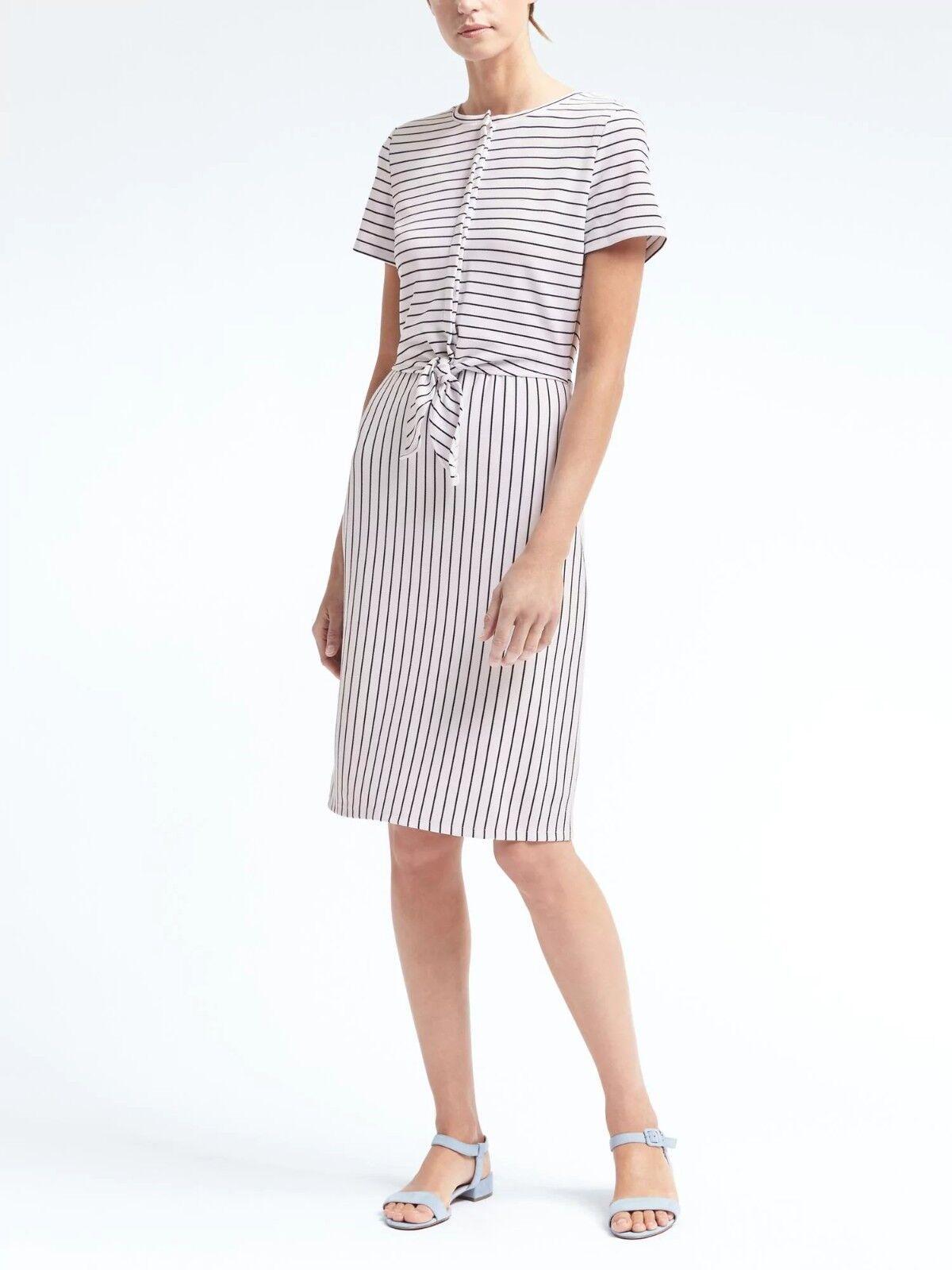Banana Republic Stripe Tie-Front Dress, Weiß schwarz stripe Größe XS  v829