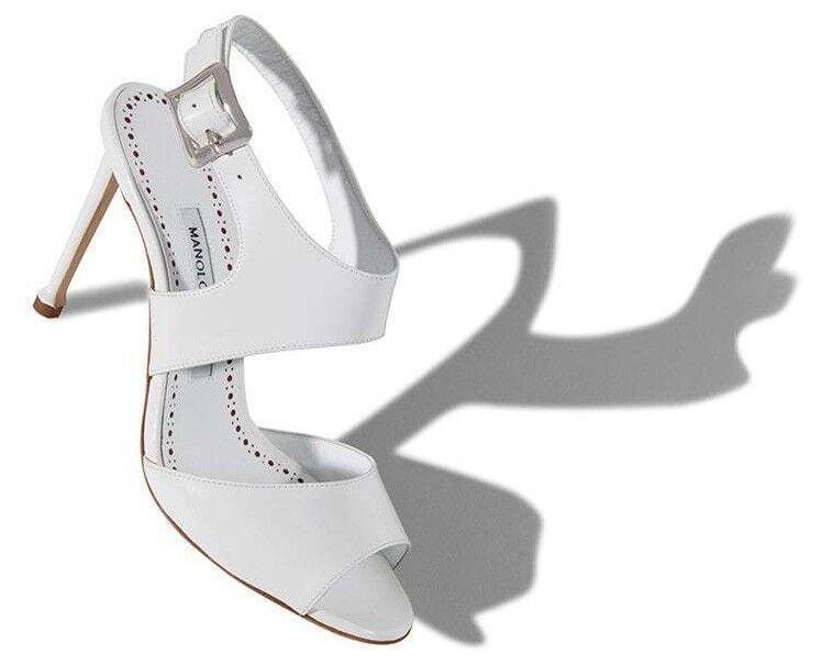 NEW MANOLO BLAHNIK Burla 105 Calf Patent Leather Sandals Heel shoes 40.5