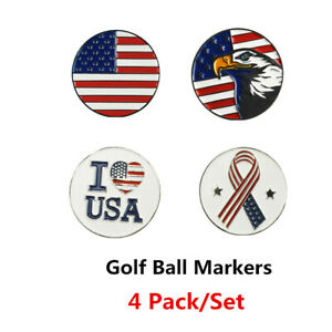 Golf-Ball-Markers-4-Pack-For-Magnetic-Hat-Clip-American-Flag-Eagle-I-LOVE-US