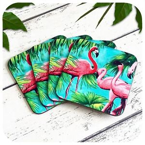 Image Is Loading Flamingo Coasters Tropical Kitsch Drinks Pink