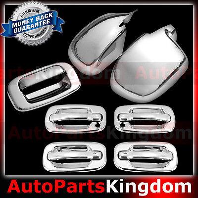 99-06 Chevy Silverado Chrome FULL Mirror+4 Door Handle+No PSG KH+Tailgate Cover