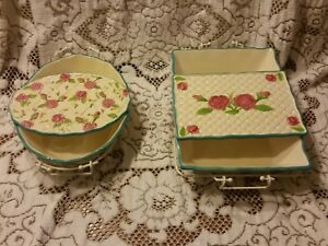 Details About 6 Pc Oven To Table Set W Trivets Temp Tations Rose Bakeware