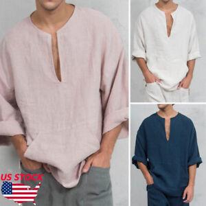 Men-039-s-Long-Sleeve-Linen-Shirt-Loose-Summer-Casual-V-Neck-Shirts-Tops-M-3XL-Tee