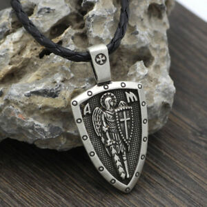Archangel-Saint-St-Michael-Protect-Us-Medal-Cross-Shield-Amulet-Pendant-Necklace