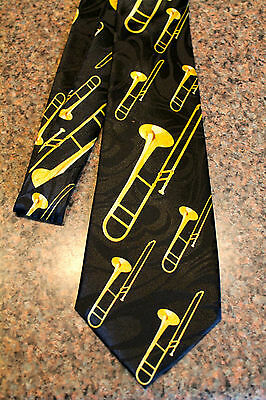 Brass Trombones Mens Neck Tie Music Blue Necktie Musical Instrument Trombone