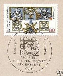 MéThodique Rfa 1995: Ratisbonne Nr 1786 Avec Le Propre Bonner Ersttag Cachet! 1a! 1608-! 1a! 1608fr-fr Afficher Le Titre D'origine