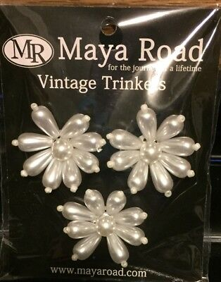 Vintage Trinkets Teardrop Pearl Centers by Maya Road 3 Pieces NIP!!!