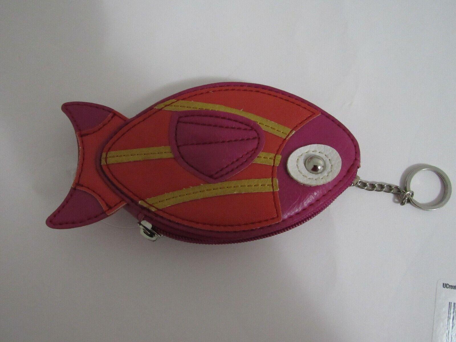 New NO TAG Relic mutil color PVC fish coin purse key chain