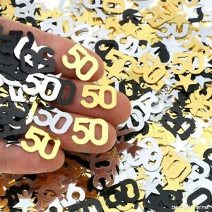 Black-Gold-amp-Silver-50th-Birthday-Party-Table-Confetti-Decorations-Age-Sprinkles