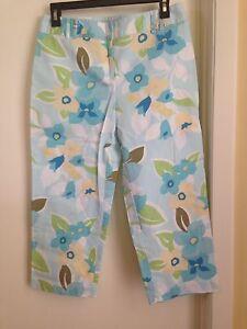 Ann Taylor LOFT Stretch Cotton Blue Yellow Floral Capri Cropped Pants 6