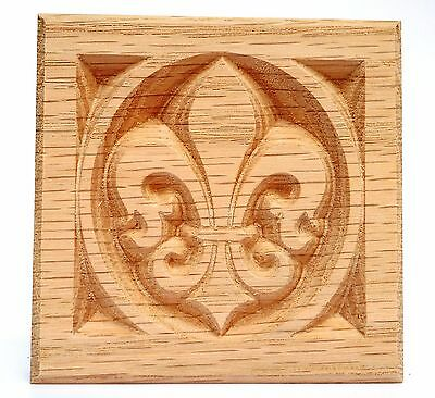 "Fleur De Lis Rosette blocks- Lot of 4 Red Oak, 8-1/4"" X 3/4"""