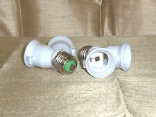 2PK LIGHT BULB 2 WAY CONVERTER ADAPTER SPLITTER CONVERTS SINGLE TO DOUBLE SOCKET