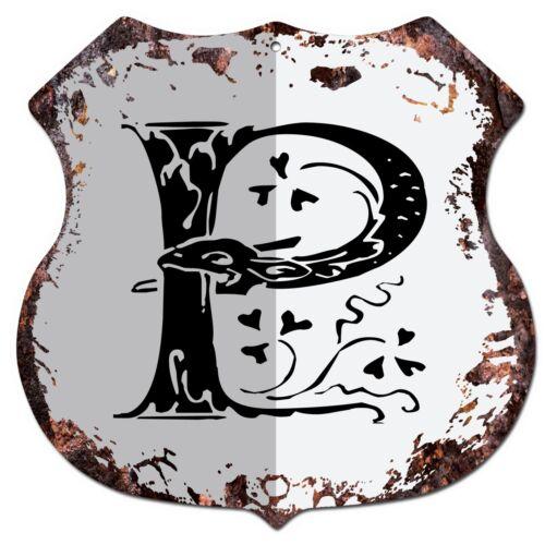 BP-0106 Alphabet Initial Letter P Shield Chic Sign Bar Pub Shop Home Decor Gift