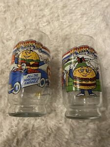 Vintage-McDonald-039-s-Mc-Vote-039-86-Drinking-Glasses-set-of-2-Blue-And-Green-New
