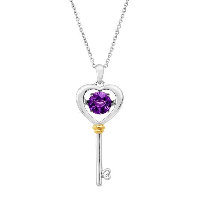 "Natural Amethyst Heart Key Floater Pendant in Sterling Silver & 14K Gold, 18"""