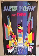"""Estate Find DAVID KLEIN 40"""" Original TWA Travel POSTER New York TIMES SQ Ex Cond"""