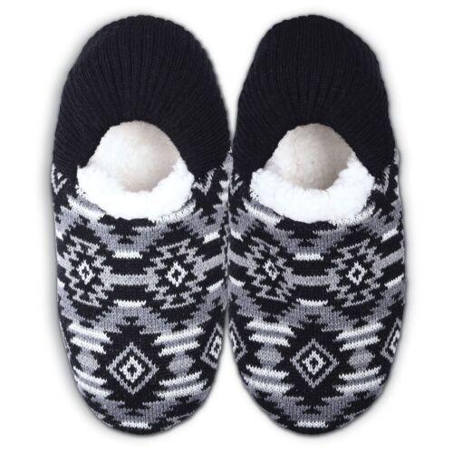 03369e60fd1 K Bell Black Gray Aztec Sherpa Lined Non Skid Bottom Slipper Small 5-8.5 New