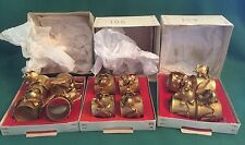 Vintage Italian Tole Roses Napkin Rings Florentine Toleware Gold Gilt Set of 12