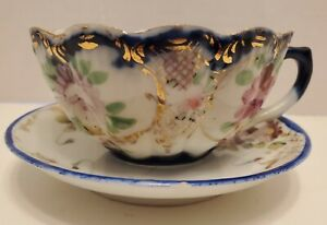 Antique-Tea-Cup-Saucer-Hand-Painted-Set