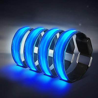 4 Stück LED Blinkarmband Armbänder Leuchtarmband Reflektorband Joggen Sport DE