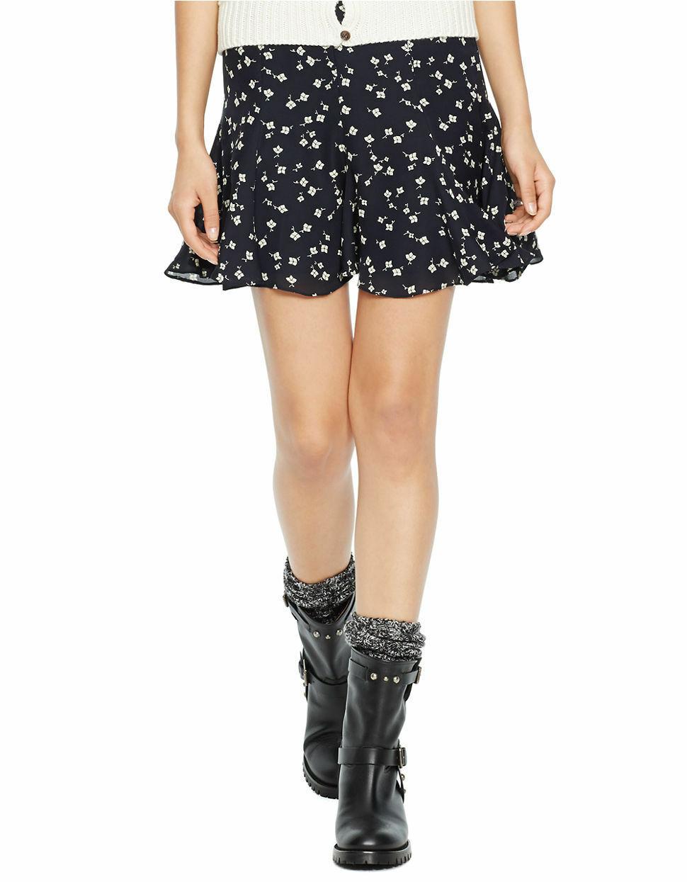Polo Ralph Lauren Ditsy Kite Penelope Flared Mini Skirt Sz 14 Dark bluee  245 New