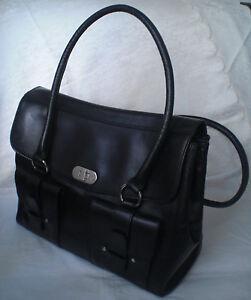 BOGNER-Schultertasche-Handtasche-Umhaengetasche-Schwarz-Leder-Damen-Tasche-Bag-Bo