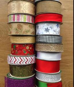 Extra-Wide-Wired-Christmas-Ribbon-38mm-63mm-Gift-Glitter-Decoration-NEW