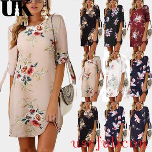 956f7c64b2 Womens Summer Floral Blouse Ladies Short Sleeve T-Shirt Dress Plus ...