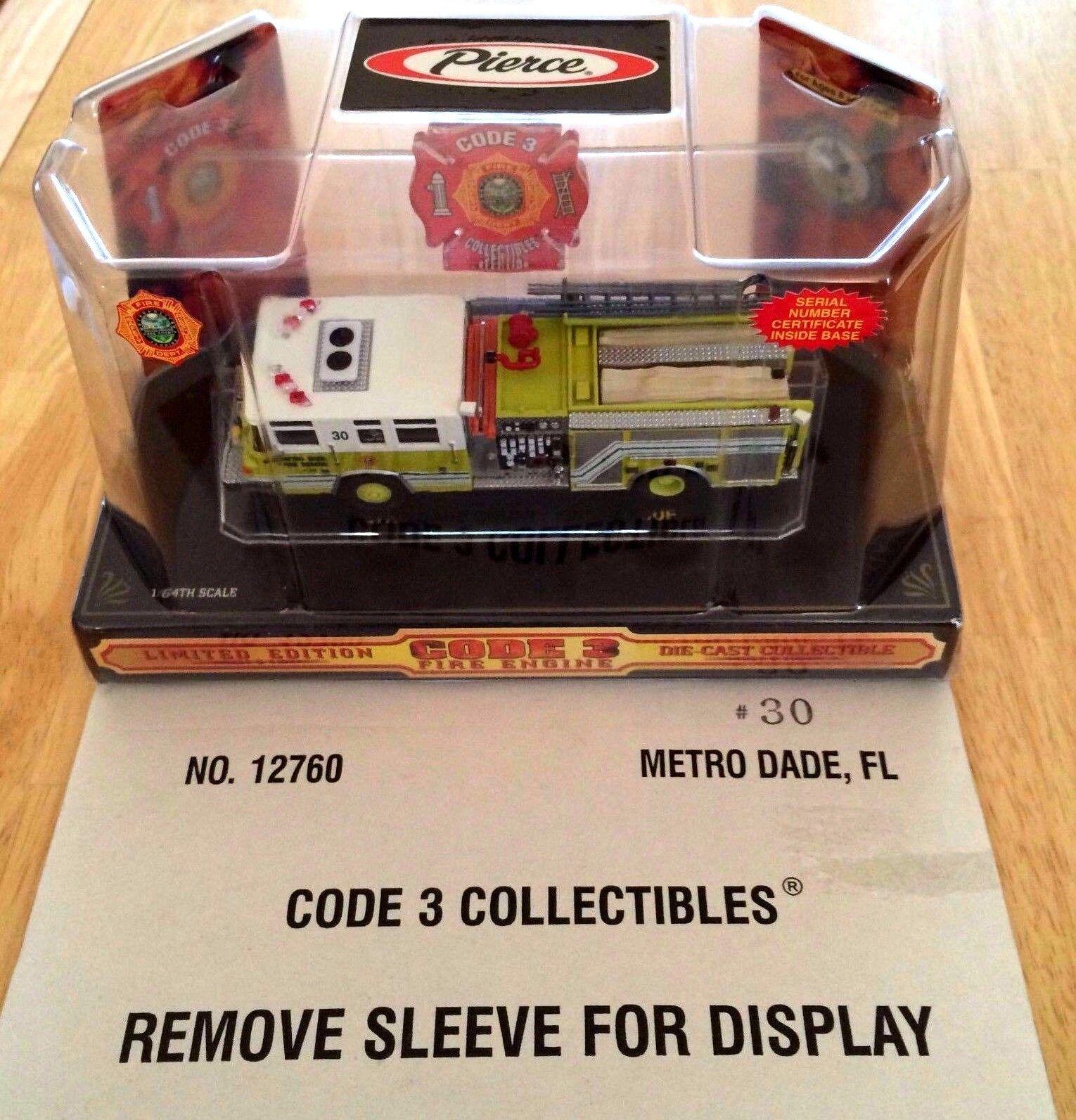 Code 3 1 64 Metro Dade FL  PIERCE QUANTUM PUMPER ENGINE 30 - 12760-nouveau in Box  vente en ligne économiser 70%