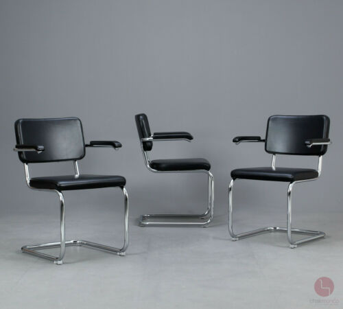 Thonet S64 PV Cantilever Bauhaus Classic Chair Black Leather Breuer Chair