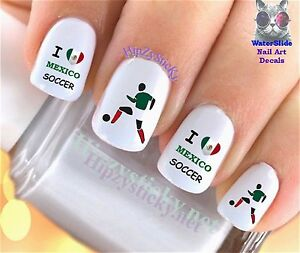 Nail Art 333 Sports Copa Love Mexico Soccer Waterslide Nail Decals