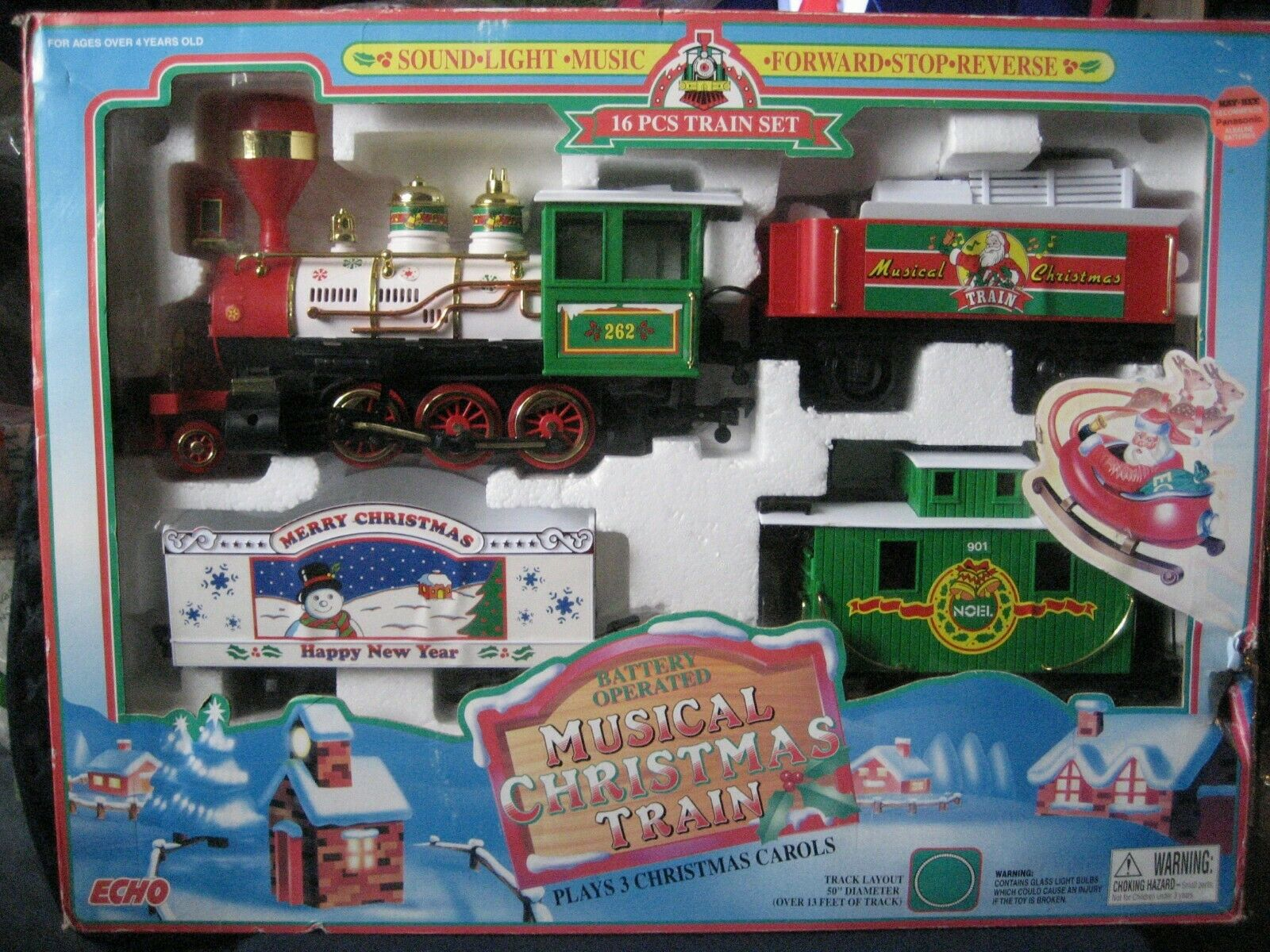 Echo Musical Christmas Train Set 16 Pcs.- Battery Operated - New In Box