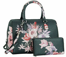 a0b14dc076 GUESS Ashville Rose Floral Box Satchel Handbag Tote Bag Purse   Wallet Set