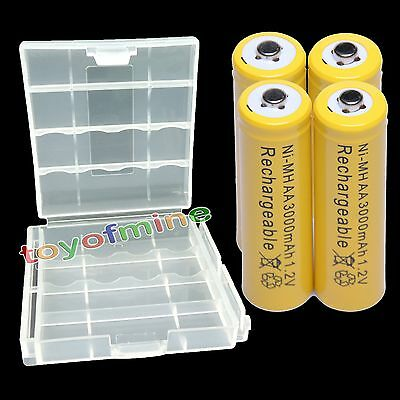 4 psc AA 3000mAh Ni-MH Rechargeab?le Battery + Case NEW