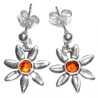 Fine Earrings Fine Jewelry 3.1g Authentic Baltic Amber 925 Sterling Silver Earrings Jewelry N-a8148 Limpid In Sight