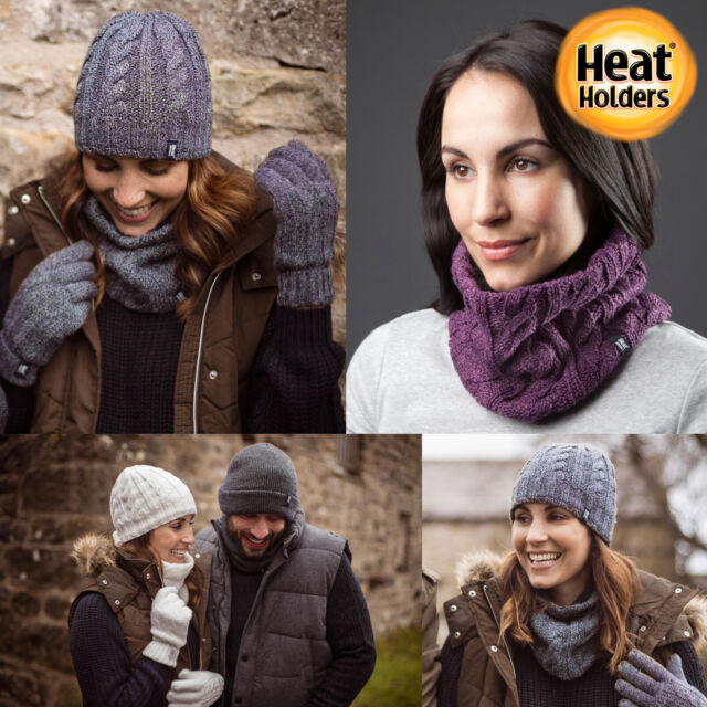 Women/'s Heat Holders 3.4 tog Thermal Cable Knit Neck Warmer Black