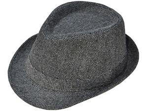 New-Mens-Fedora-Hat-Wool-Felt-Jazz-Gentleman-Snap-Brim-Trilby-One-Size-Black