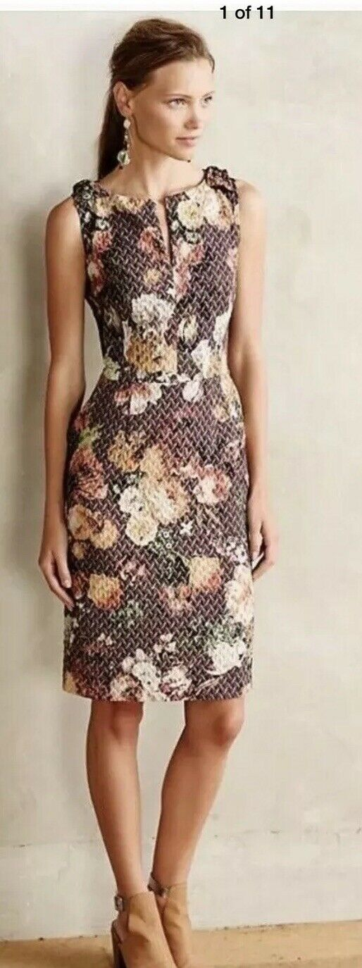 23. TABITHA Quilted Tema Sheath Dress Floral Romantic Anthropologie 6 Worn Once