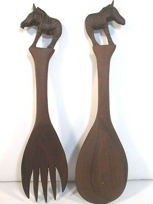 Wood Utensils Salad Spoon and Fork Zebra Hand Carved