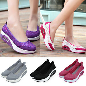 Women Breathable Flats Platform Sneakers Slip-On Trainers Athletic Walking Shoes
