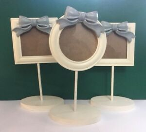 Set-of-3-Wood-White-Portrait-Small-Picture-Frames-Country-Bow-on-a-Pedestal