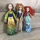 """Disney Princess  Doll Lot Of 3 11"""" 2017 Ariel, 2015 Mulan, and 2013 Anna"""