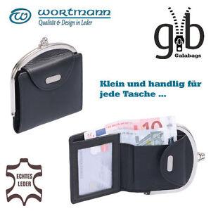 Damen-Geldboerse-Knips-Clip-Boerse-schmal-hochwertiges-Nappa-Leder-schwarz