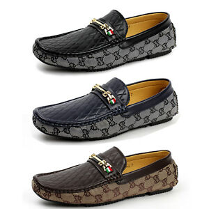 mens smart slip on leather loafers designer casual driving