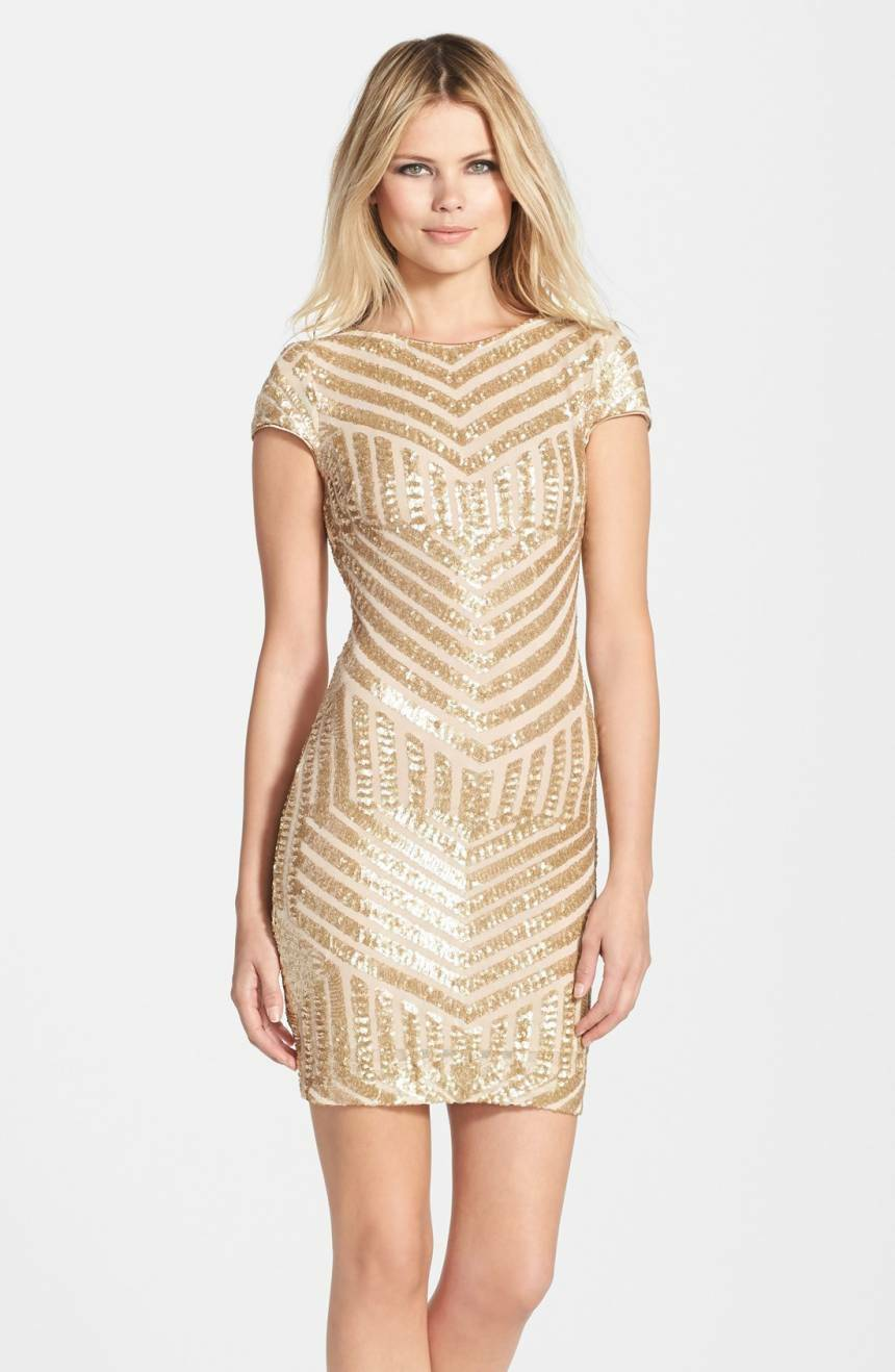 4a1360fcf7d614 NEW DRESS the POPULATION gold gold gold Nude Tabitha Art Sequin Stretch  Bodycon Mini M 8 ...