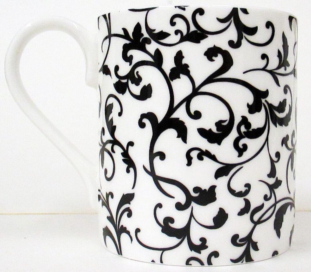 Venetian Mugs Set of 2 Porcelain Black /& White Venetian Mugs Hand Decorated U.K.