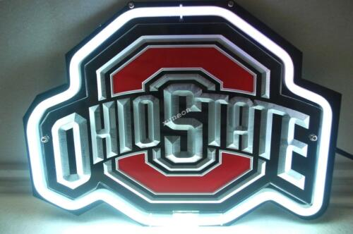 NCAA Ohio State Buckeyes Beer Bar 3D Carved Neon Sign Light FAST SHIPPING