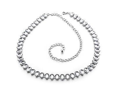 Ladies Girls Silver Rhinestone Belt Waist Chain Diamante Fashion Party Wear 732