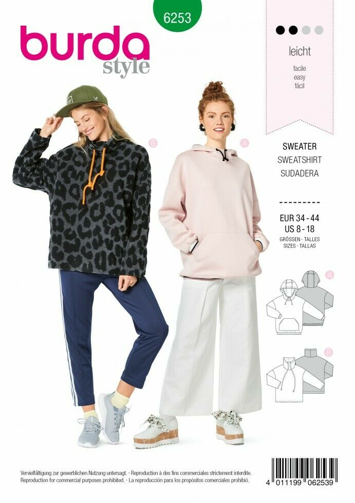 Burda Sewing Pattern 6253 Hoodies Tops 34-44