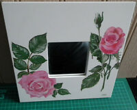 Wall Art Mirror with Small Square Handmade / Hand-Painted White Wood Frame - GC!